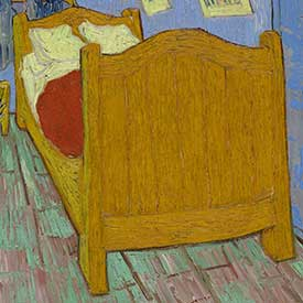 Vincent van Gogh. <em>The Bedroom</em> (Bed detail), 1889. The Art Institute of Chicago, Helen Birch Bartlett Memorial Collection.