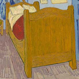 Vincent van Gogh. <em>The Bedroom</em> (Bed detail), 1889. Mus&eacute;e d'Orsay, Paris, sold to national museums under the Treaty of Peace with Japan, 1959.