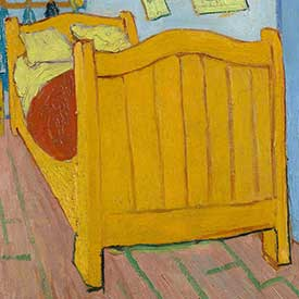 Vincent van Gogh. <em>The Bedroom</em> (Bed detail), 1888. Van Gogh Museum, Amsterdam (Vincent van Gogh Foundation).
