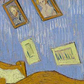 Vincent van Gogh. <em>The Bedroom</em> (Portraits detail), 1889. The Art Institute of Chicago, Helen Birch Bartlett Memorial Collection.